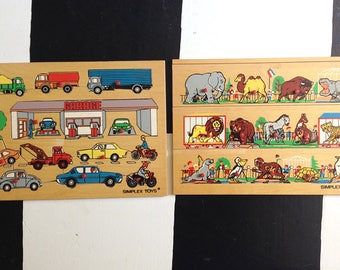 Set of 2 - Simplex 1970's Wooden Puzzles, Zoo and Garage