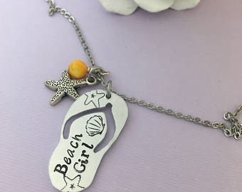 Wedding Party Gift - Beach Girls - Bridesmaid Gift - Beach Wedding Necklace - Flip Flop Jewelry - Star Fish Necklace - Wedding Party Favors