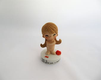 Love Is by Kim Casali Porcelain Figure, What Gives You a Smile From Ear To Ear, 1972 L.A. Times , Taiwan Porcelain