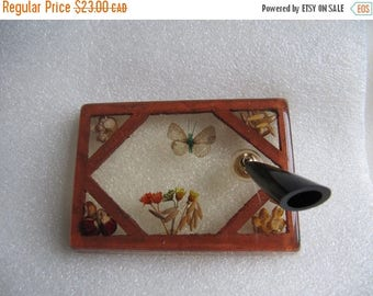 sale Vintage Pen Holder, Pressed Flowers in Acrylic Pen Holder, Vintage Office Decor, Butterfly & Flowers, Single Pen Holder