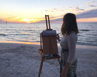 Sunset over Ocean Painting, Beach Art, Coastal Painting, Ocean Waves, Seascape, Original Small Oil Painting, Follow the Sun