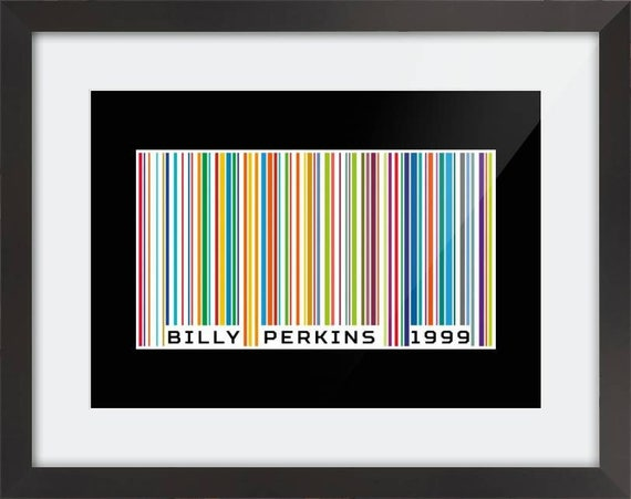 Personalised Barcode Print. Every barcode is unique to the wording underneath. Framed in black wood or printed on canvas. Choice of colours.