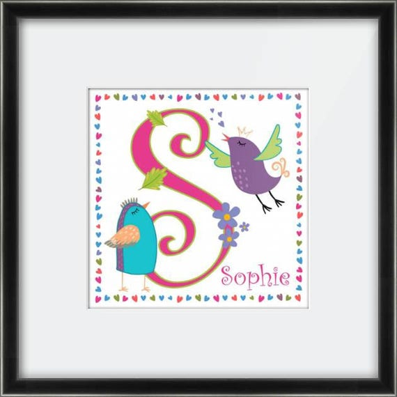 Personalised Alphabet Canvas or Framed Print.  Perfect for a Girls Bedroom / New Born Baby Gift / Christening Gift / First Birthday.