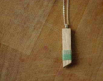 Bohemian style necklace simple wood and cotton