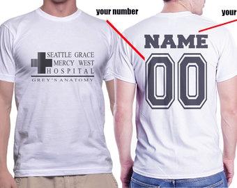 Custom Back Seattle Grace Mercy West Hospital printed on MEN tee White