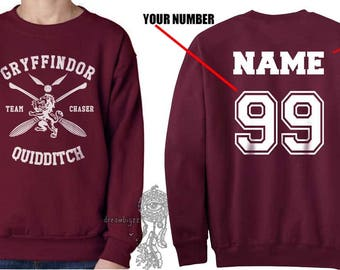 CHASER - Custom back Gryffin Quidditch team Chaser White print on Maroon Crew neck Sweatshirt