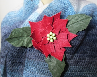 Christmas Flower brooch, Leather Christmas brooch, Leather Christmas brooch, brooch Leather Christmas Flower, Christmas Flower Poinsettia