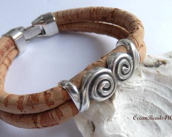 Natural Cork Bracelet D, Unisex Portuguese Cork Bracelet, Unisex Portuguese Cork Bracelet, Kork Armband, Vegan Bracelet