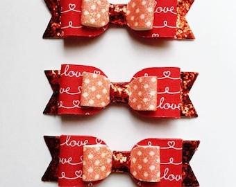 Love Medium Bows - Valentine's Day Bow Clips, Nylon, or Headbands - Photo Props