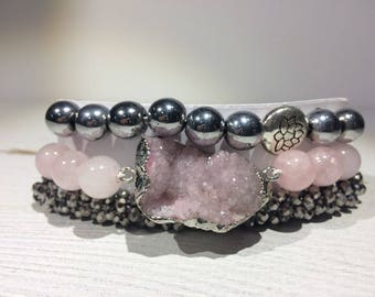 Rose Quartz & Hematite Stack Bracelets