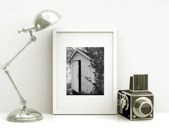 Framed BATHROOM Art - Powder Room Art - Vintage Outhouse Photo - Free Shipping - Black or White Frame - Outhouse Art - Rustic Decor