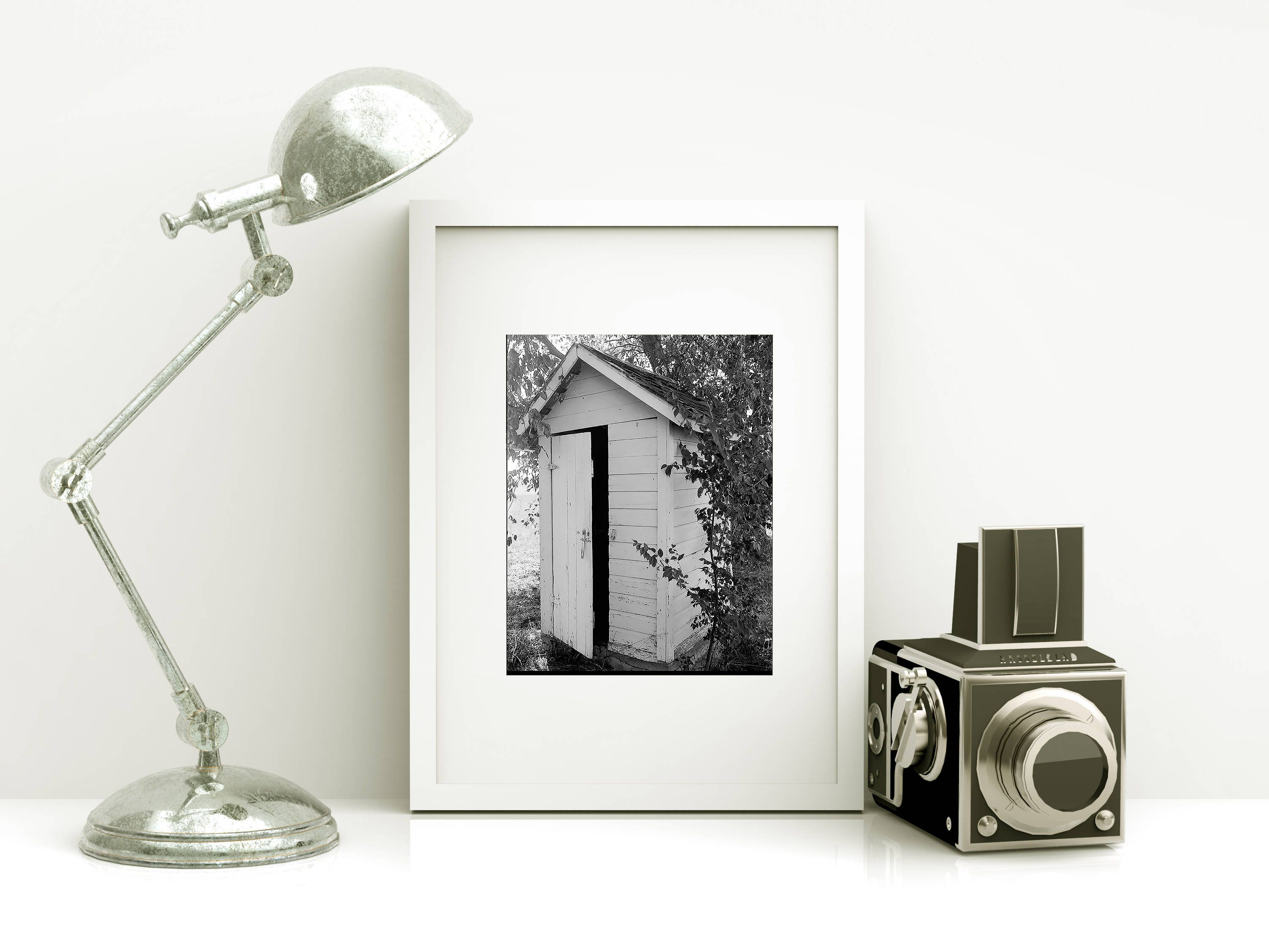 Framed BATHROOM Art   Powder Room Art   Vintage Outhouse Photo   Free  Shipping   Black Or White Frame   Outhouse Art   Rustic Decor