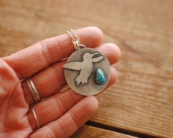Hummingbird Turquoise & Silver Pendant | Necklace