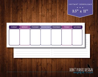 Printable Weekly Planner - Eternal Calendar - Simple Modern Purple Daily Calendar - Instant Download