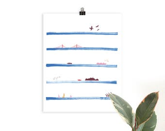 San Francisco Bay Stripes Illustrated Art Print