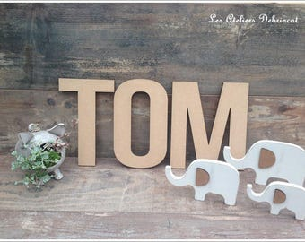 Name height 20 cm 6mm thick wood letter