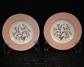"TWO Homer Laughlin Cavalier Springtime Bread Plates 6 1/4"" CV32 Pink Set of 2 EXCELLENT!"