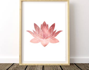 Lotus Flower, Yoga Gift For Mom, Boho Girl Wall Decor, Yoga Print Art, Wife Boho Gift, Watercolor Lotus Flower, Boho Gift For Mom