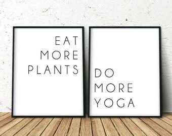 Printable Yoga Quote, Yoga Quotes Wall Art, Yoga Poster, Set of 2 Prints, Set of 2 Wall Art, Quote Prints, 2 Prints, Best Yoga Gift