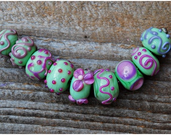 Lampwork Beads Set of 9 glass beads flower beads Glass artisan handmade SRA Green Pink Mint Rondelle Beads Flowers