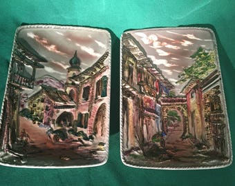 Pair of Wales Wall Plaques Made in Japan