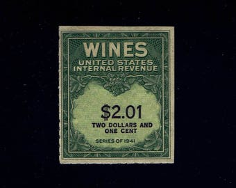 US RE199 Wine Revenue Stamp S2.10 Imprinted Series of 1941 Issued Without Gum MNH lot #usRE199-1