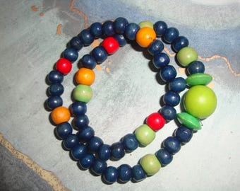 Double wood bead stretch bracelet