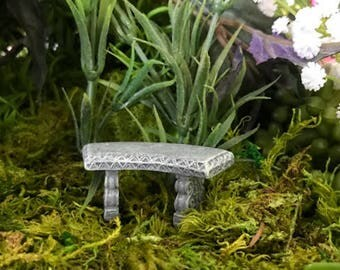 Miniature Teeny Curved Stone Bench