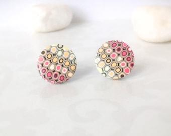Stud Earrings , Round stud earrings ,Red orange  earrings ,everyday earrings , contemporary jewelry, minimalist earrings, geometric earrings