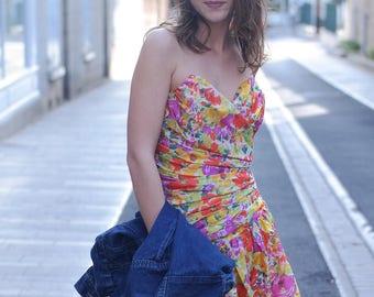 Vintage floral printed dress 80 years _ PALAIS RAOYAL PARIS