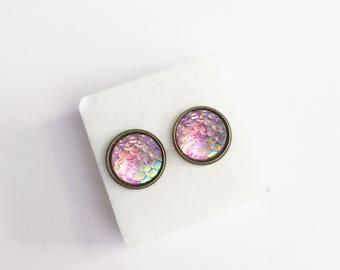 Light Pink Mermaid Scale Stud Earrings