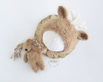 Newborn deer bonnet and  stuffie | Deer newborn bonnet | Newborn deer hat |  deer hat | Infant deer hat  | Deer newborn props
