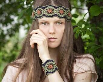 Crochet PATTERN Bracelet and Headband Jewelry Set- DIY Boho Chic Festival Style - Multicolored Wide Wrist Cuff - PDF Pattern