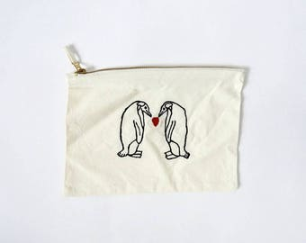 Embroidery Penguin Couple Love Heart Purse/Clutch/Make-Up/Cosmetic Bag/Pencil Bag/Natural/Valentines/Gift/Accessories/Fashion/Cute/Animals