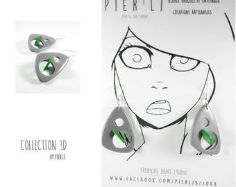 Gray and green earrings