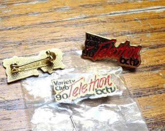 Variety Club B.C.T.V  1990 pin . Gold tone pin. 3 pins total.