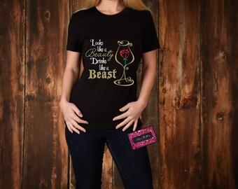 Glitter T-Shirt - Looks Like A Beauty Drinks Like A Beast