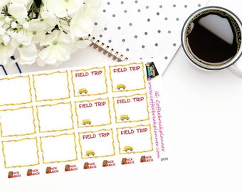 Planner Stickers | School Stickers|School Planner Stickers|Field Trip Stickers|Field Trip Planner Stickers|Pack Lunch Stickers|D075