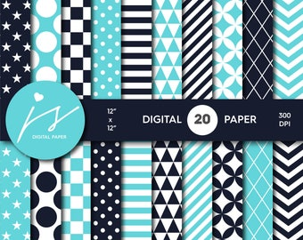 Navy blue and turquoise digital paper, Scrapbooking paper, Digital paper pack, Digital backgrounds, Printable paper, Commercial use, MI-589
