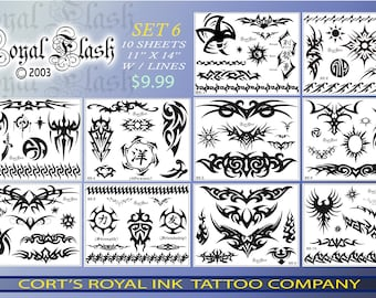 Tattoo Flash SET 6 10 pages of Laser printed Flash of tribal w/outlines