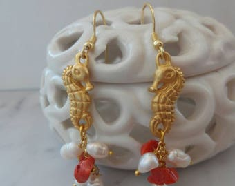 Seahorse earrings with coral