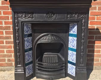 Victorian Style All In One Tiled Cast Iron Stovax Fireplace