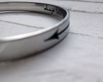 "Steel Arrow Cuff Bracelet - 6""x1/4"" Adjustable Cuff -with Arrow Design Engraved, Optional Inside Custom Engraving Addon"