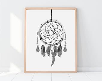 Dreamcatcher, Printable art, dream catcher, printable dreamcatcher, digital download, dreamcatcher art, dreamcatcher poster, wall art, print