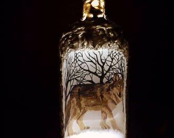 Wolf ornament, snow globe, reverse decoupage bottle, snow bottle,  snow scene, timber wolf in snow, cork light, winter deciration, wolf love