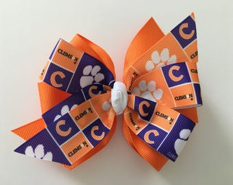 Clemson University Hair Bow, Clemson Bow, Clemson Hair Bow, Orange Clemson Bow, Clemson Logo Ribbon, Clemson Tigers Bow, Orange Paw Bow