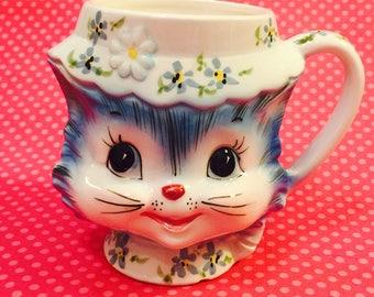Lefton Anthropomorphic Miss Priss Kitten Coffee Cup Mug made in Japan circa 1950s