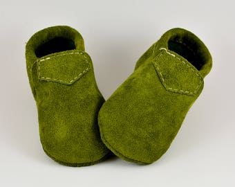 Moss Loafers, Olive Green Baby Shoes, Baby Loafers, Toddler Loafers, Handmade Shoes, Genuine Leather Shoes, Suede Leather, Fall, Autumn