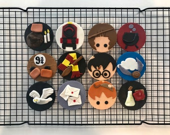 12x Edible Harry Potter cupcake toppers
