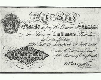 Bank of England ONE HUNDRED (100) POUNDS 1936 Replica Banknote